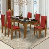 Conjunto de Mesa Siena Mel Preto 1,60m com 6 Cadeiras Miami Mel Vermelho - Dobuê