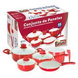 Conjunto de Panelas - 5 Peças Cerâmica - Vermelho - Catuaí