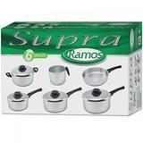 Conjunto de Panelas Aluminio Polido Supra 6 Pecas Ramos - Ramos aluminio