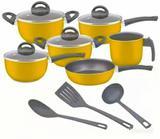 Conjunto de panelas antiaderente 9 peças amarelo com tampa de vidro e utensílios  Trofa - Marpal - trofa