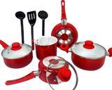 Conjunto De Panelas Cerâmica Antiaderente Vermelha 8 Peças - Import