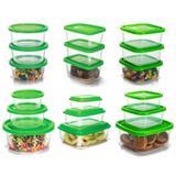 Conjunto de Potes Plástico Prime 18 Peças Pequeno, Médio e Grande - Ercaplast - Erca plast