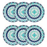 Conjunto de Pratos Rasos 24 cm 6 peças Lola Azul - Oxford - Oxford es