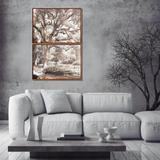 Conjunto de Quadros Telas Decorativas Paisagem Parque com Árvore Kit com 2 Quadros de 70x50cm - Decore pronto