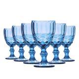 Conjunto de Taças para Água Elegance Azul 6 Peças 260ml Class Home