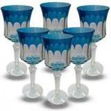 Conjunto de Taças para Agua em Vidro Cristalino Lapidado 6 peçasAzul Claro - Decorafast