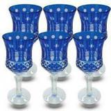 Conjunto de Taças para Vinho em Vidro Cristalino Lapidado 6 peças Azul Escuro - Decorafast