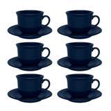 Conjunto de Xicara de Chá com Pires 6 Peças Oxford Linha Daily Denim