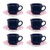 Conjunto De Xícaras De Chá Oxford 12 Peças Com Pires Floreal Hana