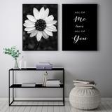 Conjunto Kit 2 Quadros 67x100cm Coleção Black  White You and Me Moldura Preta - Oppen House Decora