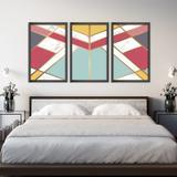Conjunto Kit 3 Quadros 60x120cm Escandinavo Kiruna Com Vidro e Moldura Preta - Oppen House Quadros Decorativos