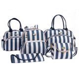 Conjunto Kit Bolsa Maternidade Luxo Elegance Azul Marinho 05 Peças - Sônia enxovais