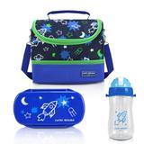 Conjunto Lancheira Térmica Sapeka 3 Peças Azul Foguete Jacki Design