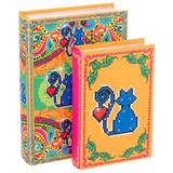 Conjunto Livro Caixa Amor de Pixel Gato c/2 Exclusivo Trevisan Concept 30cm x 20cm x 6cm