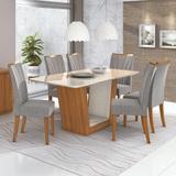Conjunto Mesa 6 Cadeiras Apogeu Plus Rovere Naturale/Linho Gris Tampo e Vidro Off White Lopas