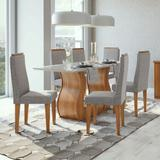 Conjunto Mesa 6 Cadeiras Dafne Plus Rovere Naturale/Linho Gris Tampo e Vidro Off White Lopas