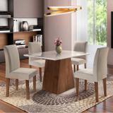 Conjunto Mesa Arezo Tampo Smart Vidro Plus 4 Cadeiras Espanha Chocolate/Linho - Cel móveis