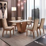 Conjunto Mesa Espanha Tampo Dakota Vidro 6 Cadeiras Turim Chocolate/Suede Pena - Cel móveis