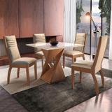 Conjunto Mesa Genova Tampo Slim Vidro Plus 4 Cadeiras Turim Cel Móveis Chocolate/Suede Pena