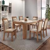 Conjunto Mesa Turim Vidro 6 Cadeiras Diamante Cel Móveis Chocolate/Suede Pena