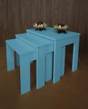 Conjunto Mesas Ninho Lateral de Apoio Centro Laqueada - Azul - Formalivre