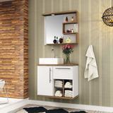 Conjunto para Banheiro Veneza Branco e Nogal - Bosi