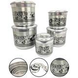 Conjunto Porta Mantimento Latas Alumínio Com Desenho Prata - Alumínio extra forte