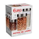 Conjunto Potes de Vidro Com Tampa Frutas 3 Peças - VDR3689 - Euro
