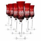 Conjunto Taças de Cristal Lapidado Vermelho 150ml 6 peças - Decorafast