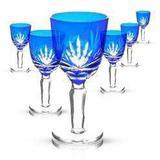 Conjunto Taças Licor Cristal Lapidado Azul 60ml 6 peças - Decorafast