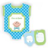 Convite Chá de Bebê Menino Azul e Verde c/ 08 unidades - Ultrafest