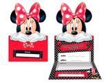 Convite de Aniversário Minnie Vermelha Disney -8 unidades - Regina Festas - Minnie bowtique
