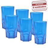 Copo Big Whisky Acrílico Azul 600ml 6 unidades Bezavel - Festabox