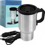 Copo caneca termica em inox eletrica plug 12v aquece agua cafe leite para carro e barco portatil - Gimp