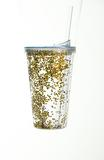 Copo Com Canudo Tampa Brilhoso Plástico 450ml Dourado - Cromus