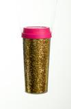 Copo Com Canudo Tampa Brilhoso Plástico 450ml Rosa Pink - Cromus