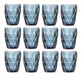Copo de Água Diamante Azul 250ML Kit Com 12 Unidades - Class home