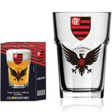 Copo de Cerveja Flamengo Urubu Vidro 400ml Futebol - Globimport