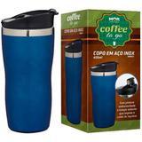Copo Termico Aço Inox 450ml Cofee To Go Azul - Mor