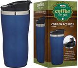 Copo Tipo Térmico Inox Azul 450ml para Café Chá Chocolate Quente Mor