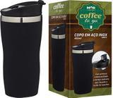 Copo Tipo Térmico Inox Preto 450ml para Café Chá Chocolate Quente Mor
