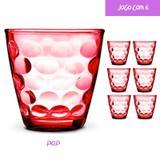 Copo Vidro 250ml (Suco, água) POP jogo com 6 Vermelho - Casa linda