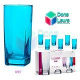 Copo Vidro 320ml (Suco água) BALI jogo com 6 Azul