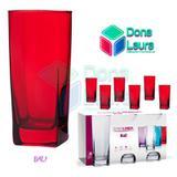 Copo Vidro 320ml (Suco água) BALI jogo com 6 Vermelho