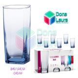 Copo Vidro 320ml (Suco água) BALI SOLID jogo c/ 6 Azul