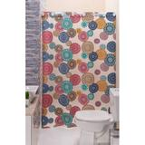 Cortina Box para Banheiro PVC Antimofo Estampada Mandala 1,40 x 1,98 cm com Ilhós para Varão 1,20 Metros - Eddi cortinas