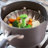 Cozedor de vegetais para vapor retrátil em aço inox Prana