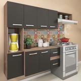 Cozinha Compacta 7 Portas 2 Gavetas Suspensa Armário E Balcão Anita Teka/grafite - Pnr Móveis