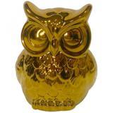 Decorativo Cerâmica Staring Owl 14cmx12cmx8,4cm Dourado - Urban