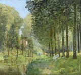 Descanso ao Longo do Córrego - Alfred Sisley - Tela 30x32 Para Quadro - Santhatela
